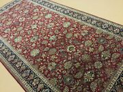 6andrsquo X 12andrsquo Red Navy Blue Traditional Floral Hand Knotted Oriental Rug All-over