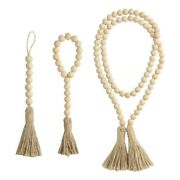 10x3 Pieces Wood Bead Garland With Tassels Rustic Prayer Beads