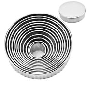 5x12pcs Fluted Cookie Biscuit Cutter Set Stainless Steel Circle Pastry