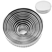 10x12pcs Fluted Cookie Biscuit Cutter Set Stainless Steel Circle Pastry