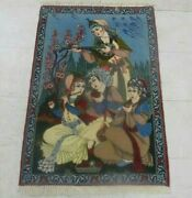 Antique Hand Knotted Picture Rug Silk And Wool 2and0396 X 4and039