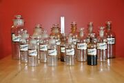 Antique Late 19th Century Apothecary Bottles Box Lot N=15 Matching Labels