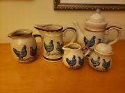 1979 Enesco Country Road Stoneware Teapot Creamer Sugar Bowl 2 Small Pitchers