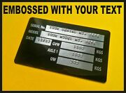 Trailer Identification Id Plate Single Axle + Rivets + Your Own Text Embossed