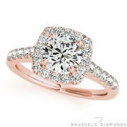 1.10 Ct Natural Diamond Square Halo Engagement Ring Round H/si2 14k Rose Gold