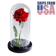 Red Rose In Crystal Clear Glass Dome With Soft White Led Lights - Color Of Love
