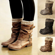 Womens Ladies Leather Fur Lined Mid Calf Biker Riding Low Heel Boots Shoes Size