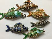 Rare Lot Of 26 Vintage Chinese Silver Enamel Fish Charms Pendants Sterling 925