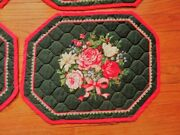 6 Vtg Green W Red And Pink Cottage Cabbage Roses Cotton Quilted Placemats