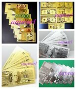 35 Pcs Different Euro Us Dollar Crafts Banknotes Golden Silver Color Paper Money
