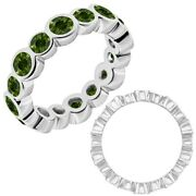 2 Carat Real Green Diamond Bubbles Antique Eternity Band Ring 14k White Gold
