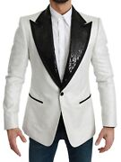 Dolce And Gabbana Blazer White Sequined Slim Fit Jacket It44 / Us34 / Xs Rrp 3600