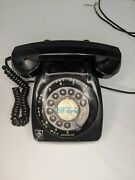Vintage Black Rotary Desk Phone With On Off Switch