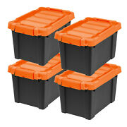 4-pack Large Storage Containers W/ Lids Black Plastic Latch Box Stackable Totes