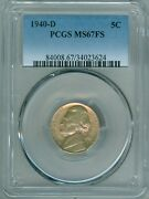 1940 D Pcgs Ms67fs Jefferson Nickel, Full Steps, Gorgeous Toning, Great Luster