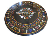 Black Marble Side Dining Table Inlay Marquetry Hallway Art Decor Furniture H3003