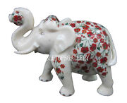 10 White Marble Indian Elephant Marquetry Inlay Living Home Decor Gift H513