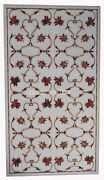 30x48 White Marble Dining Table Top Carnelian Gem Floral Inlay Home Decor H452