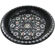 13 Marble Fruit Bowl Mother Of Pearl Inlaid Floral Art Christmas Eve Gifts H541