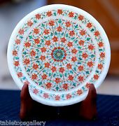 Antique White Marble Round Serving Plate Micro Mosaic Coral Gems Inlay Art H1952