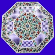 2and039 Marble White Table Top Inlay Grill Multi Mosaic Floral Living Room Decor W245