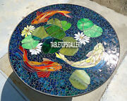 48and039and039 Marble Top Dining Table Lapis Fish Art Mosaic Stone Inlay Patio Decor H4028