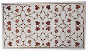4and039x2and039 Marble Center Dining Table Top Carnelian Floral Inlay Garden Decors W249b
