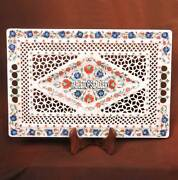 18and039and039x12and039and039 Marble White Plate Hakik Lapis Floral Mosaic Inlay Kitchen Decor H3708