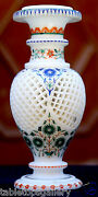 Antique White Marble Flower Jar Rare Semi Inlay Marquetry Arts Furniture H1960