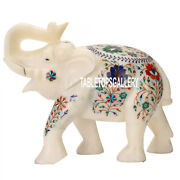 15and039and039x8and039and039x12and039and039 White Marble Elephant Statue Figurine Inlay Good Luck Decor H3545