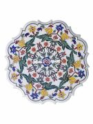 32 White Marble Serving Tray Plate Inlay Semi Precious Italian Art Gifts H3053a