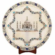 20and039and039 White Marble Serving Plate Taj Mahal Floral Inlay Dining Table Decor H3589