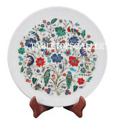 12 Marble Round Serving Plate Semi Precious Gems Gift Tray For Wedding H2566