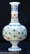 Antique White Marble Flower Vase Micro Inlay Collectible Wedding Gift Deco H1947