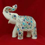 13and039and039 Marble White Elephant Figurine Micro Multi Floral Art Good Luck Gifts H3764