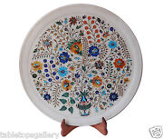 Indian Makrana White Marble Serving Plate Inlay Decor Collectible Gifts H1325