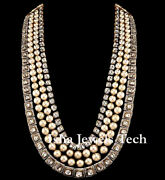 Natural Polki Diamond 925 Sterling Silver Victorian Necklace Handmade Jewelry