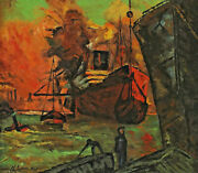 Signed H. Loos Dated 1948 - Ships In The Port / Shipyard