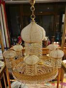 Vintage X-large Gold Plated And Crystal And039ernst Palmeand039 Onion Dome Style Chandelier