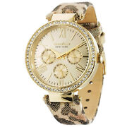 Caravelle By Bulova Womens Gold Dial Multifunction Watch, Crystals, Leopard Band