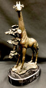 Antique Signed Milo Bronze Titled Graceful Giraffe 11 Tall On Marble Plinth
