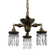 Antique Neoclassical Brass Three-light Chandelier With Prisms, Nc3878