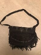 Vintage Antique Chainmail Coin Purse Small Bag Black And Silver Beaded Fringe