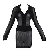 Vintage Ss 1995 Dolce And Gabbana Pin-up Sheer Black Mesh Jacket And Mini Skirt Suit