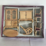 Vintage 112 Doll House Wooden Dining Room Furniture Set Boxed.complete