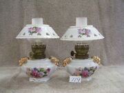 119 Pair Miniature White With Floral Design And Gold Trim Two Handle Oil Lamps
