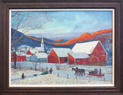 Winter Mountain Town Horse Sled Christmas Tree Antique Painting By E Mulholland