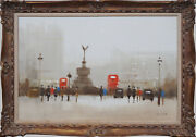 Piccadilly Circus London Uk Impressionist Oil Painting By Anthony Klitz