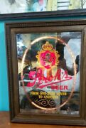 Vintage Strohs Beer Lighted Bar Sign Smoked Glass