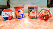 Vtg Collectible Pepsi Cola Lot Of 4 Popcorn And Cookies Advertisement Tin Cans.